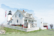 Pemaquid Lighthouse Digital Art Framed Prints - Pemaquid Point Lighthouse Framed Print by Tom Schmidt