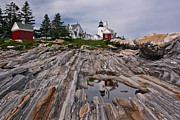 Maine Lighthouses Digital Art Prints - Pemaquid Reflections Print by M S McKenzie