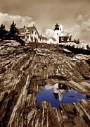 Maine Lighthouses Framed Prints - Pemaquid Framed Print by Skip Willits