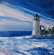 Pemaquid Lighthouse Painting Framed Prints - Pemaquid Winter Light Framed Print by Lynne Vokatis