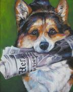 Corgi Dog Portrait Posters - Pembroke Welsh Corgi fetching Poster by L A Shepard