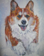 Corgi Dog Portrait Posters - Pembroke Welsh Corgi in Snow Poster by Lee Ann Shepard