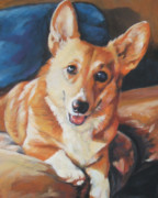 Corgi Dog Portrait Posters - Pembroke Welsh Corgi Poster by Lee Ann Shepard