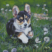 Corgi Dog Portrait Posters - Pembroke Welsh Corgi Puppy Poster by Lee Ann Shepard