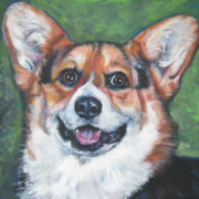 Corgi Dog Portrait Posters - Pembroke Welsh Corgi tricolor Poster by Lee Ann Shepard