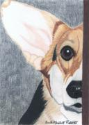Corgi Drawings - Pembroke Welsh Corgi Vignette by Anita Putman