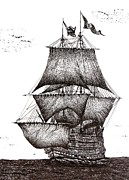 Oceans Drawings Prints - Pen and Ink Drawing of Sailing Ship in Black and White Print by Mario  Perez