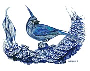 Rest Drawings Posters - Pen and ink drawing of small Blue Bird  Poster by Mario  Perez