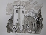 Pen And Ink-llanarthne Church-01 Print by Pat Bullen-Whatling