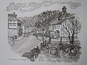 Battle Drawings Prints - Pen and Ink-Llanarthne Village-Emlyn Arms Pub-01 Print by Pat Bullen-Whatling