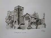 Tomb Drawings - Pen and Ink-Llangathen Church-01 by Pat Bullen-Whatling