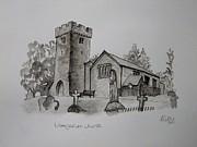 Pen And Ink-llangathen Church-01 Print by Pat Bullen-Whatling