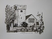Tomb Drawings - Pen and Ink-Llangathen Church-02 by Pat Bullen-Whatling