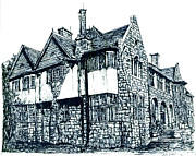 Buildings Drawings Drawings Framed Prints - Pen and Ink stone house  Framed Print by Lee-Ann Adendorff