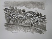 Bridge Drawings - Pen and Ink-The Bridge-Llandeilo-01 by Pat Bullen-Whatling