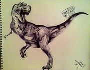 Maritza Montnegro - Pen Drawing of T-Rex