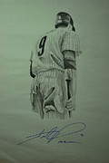 Redsox Drawings - Pence 9 by Leo Artist