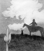 Grey Clouds Drawings Prints - Pencil Cowboy Print by Jamie Frier