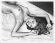 Olga Bell Drawings Originals - Pencil Drawing Nude Girl Good Morning www.olgabell.ca by Olga Bell