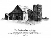 Weathered Drawings Framed Prints - Pencil Drawing of Old Barn with Bible Verse Framed Print by Joyce Geleynse