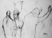 Worship God Drawings - Pencil of Wailing Wall - Israel by Bruce Shane