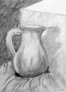 Whites Drawings Posters - Pencil Pitcher Poster by Jamie Frier