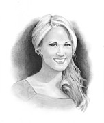 Freehand Drawings Framed Prints - Pencil Portrait of Carrie Underwood Framed Print by Joyce Geleynse