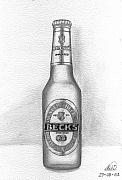 Bottle Drawings - Pencil Work For My Art School by Alban Dizdari