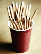 Tabletop Prints - Pencils in a Red Cup Print by Skip Nall