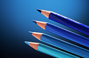 Colored Background Art - Pencils In Different Shades Of Blue by Timo Westergard