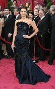 Strapless Dress Prints - Penelope Cruz Wearing A Chanel Haute Print by Everett