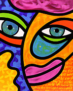Abstract Face Paintings - Penelope Peeples by Steven Scott