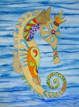 Trippy Painting Metal Prints - Penelope the Seahorse Metal Print by Erika Swartzkopf