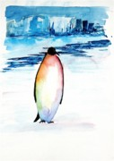 Blues Paintings - Penguin 2 by Carolyn Doe