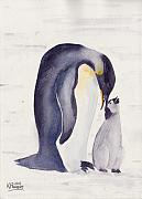 Ken Painting Originals - Penguin and Baby by Ken Powers