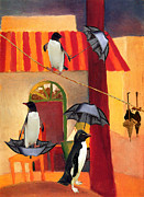 Sarah Vernon Framed Prints - Penguin Cafe Framed Print by Sarah Vernon