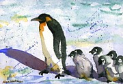 Phlox Painting Framed Prints - Penguin March Framed Print by Miriam Schulman