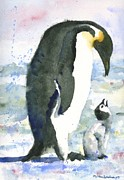 Drawing Painting Originals - Penguin Parent by Miriam  Schulman