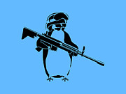 Stencil Posters - Penguin soldier Poster by Pixel Chimp