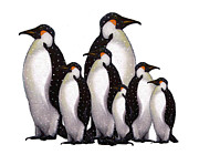Penguin Pastels Posters - Penguins In Snow Poster by Joyce Geleynse