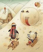 Winter Drawings Posters - Penguins Poster by Kestutis Kasparavicius