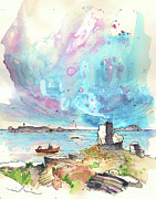 Skies Drawings Posters - Peniche in Portugal 06 Poster by Miki De Goodaboom