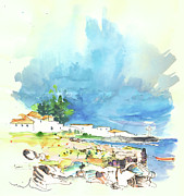 Atlantic Drawings Prints - Peniche in Portugal 10 Print by Miki De Goodaboom