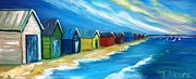 Victoria Paintings - Peninsular Boatsheds by Therese Alcorn