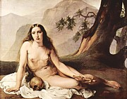 Hayez Paintings - Penitent Mary Magdalene by Pg Reproductions