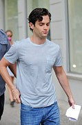 White T-shirt Photos - Penn Badgley, Walks To The Gossip Girl by Everett