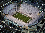 House Prints - Penn State Aerial View of Beaver Stadium Print by Steve Manuel