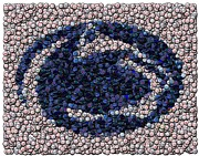 Bottle Cap Digital Art Posters - Penn State Bottle Cap Mosaic Poster by Paul Van Scott