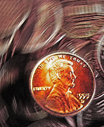 Coin Mixed Media Prints - Pennies Abstract 2 Print by Steve Ohlsen