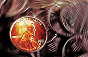 Coin Mixed Media Prints - Pennies Abstract 3 Print by Steve Ohlsen